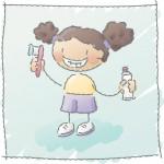 Mädchen mit Zahnbürste_Zeichnung